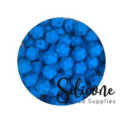 icosahedron 14mm deep sky blue